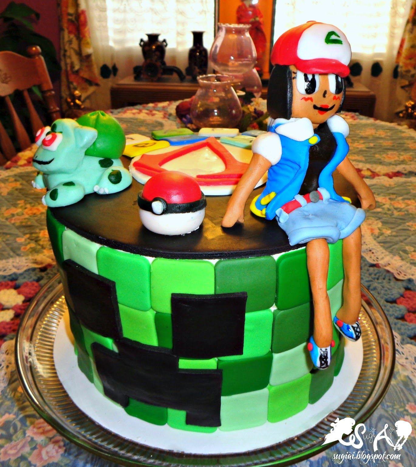 Video Game Birthday Cake. Minecraft Creeper, Pokemon, and