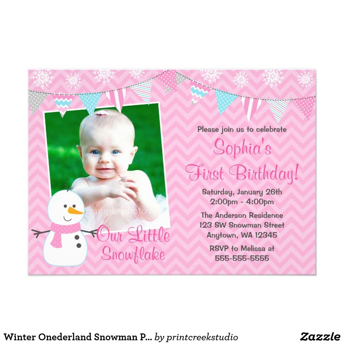 Winter Onederland Snowman Pink Chevron Birthday Card Cute winter ...