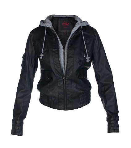 ESSENTIALS WOMENS HOODED PU BOMBER JACKET WITH FLEECE Black ...