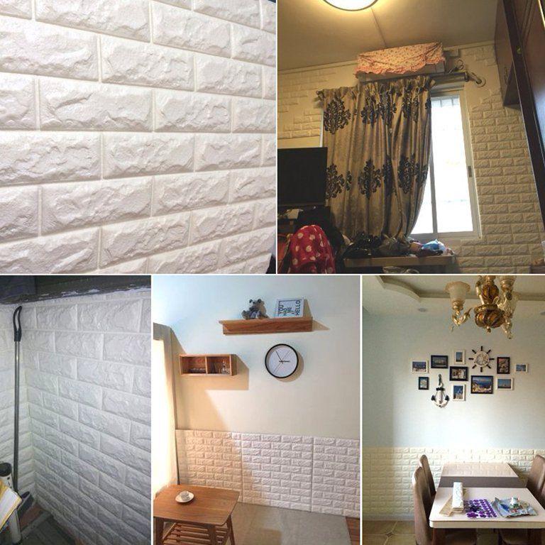 3d Brick Wall Panels Stickers Pe Foam Self Adhesive Wallpaper Removable Wall Decoration Walmart Com 3d Brick Wall Panels White Brick Wallpaper Wall Paneling