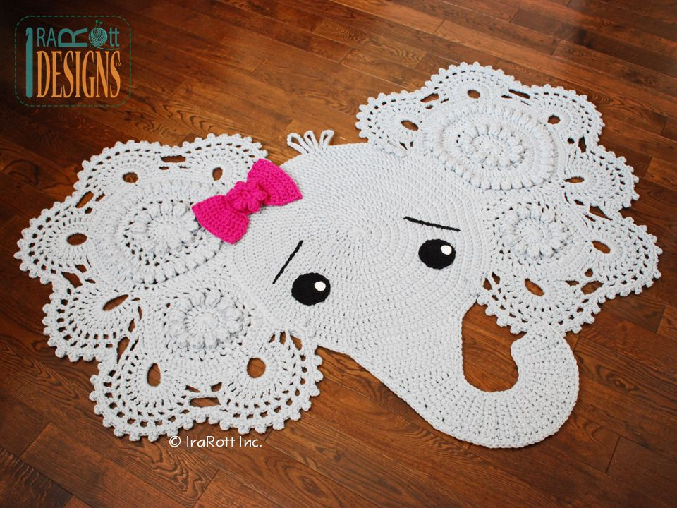 Elephant Animal Rug Nursery Mat Crochet Pattern For Babies Kids And Infants Not Free
