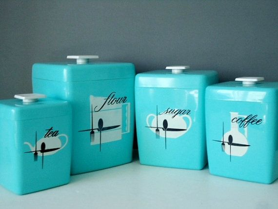 Attrayant Retro Nesting Kitchen Canister Set   1960s Turquoise Canisters