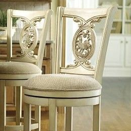 Frontgate Home Bar Furniture Carved Rooster Swivel Stool Antique White Leather Seat 42 In H Counter Barstools 28419awct