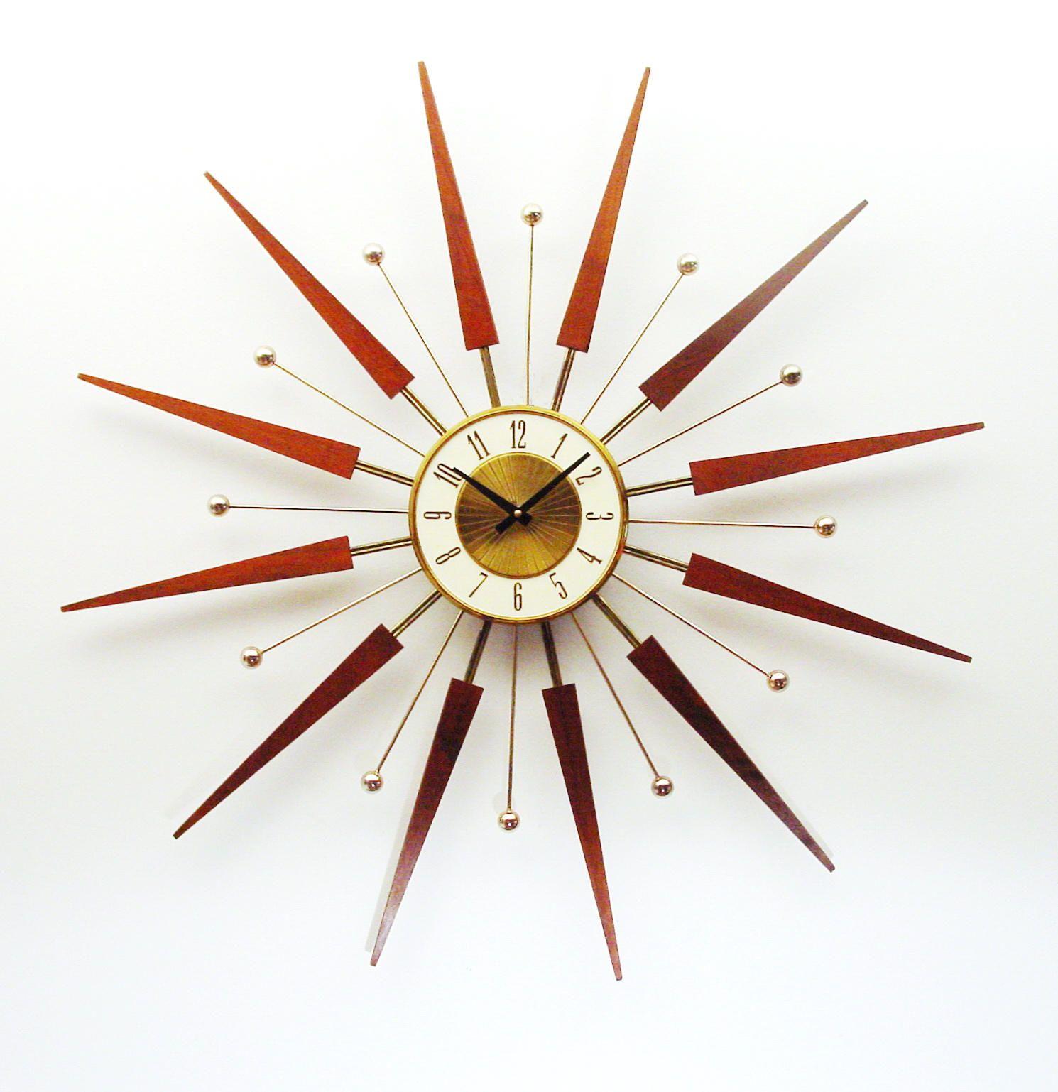 Mid Century Starburst Clock By Elgin Mid Century Sunburst Etsy Sunburst Clock Mid Century Modern Clocks Mid Century Clock