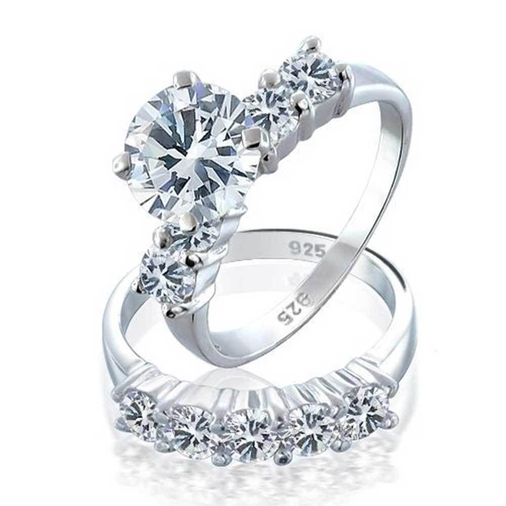 3.5 TCW 2 Ct Round Solitaire CZ Bridal Engagement Endless Eternity Ring Set Sz 7