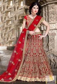 Red Color Net Material Bridal Lehenga Choli Online With Price