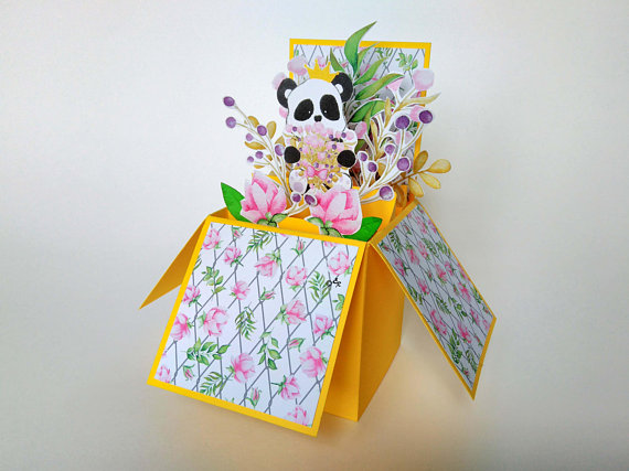 Panda Pop Up Carte Carte De Boite De Collection Invitations D