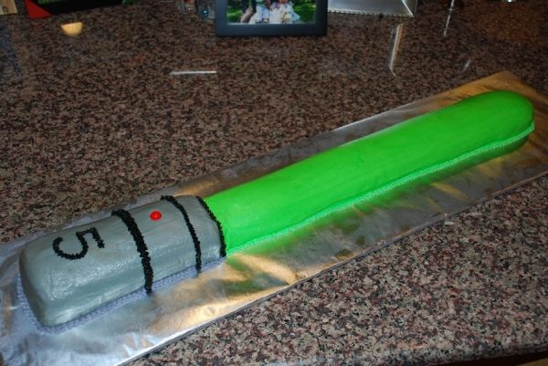 Stupendous Lightsaber Cake With Images Star Wars Cake Easy Light Saber Funny Birthday Cards Online Sheoxdamsfinfo