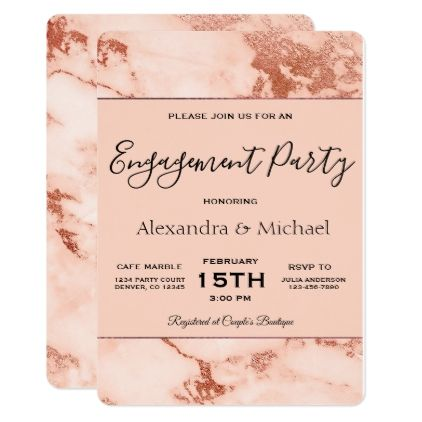 Engagement Party Rose Gold Marble Invitation - formal speacial diy