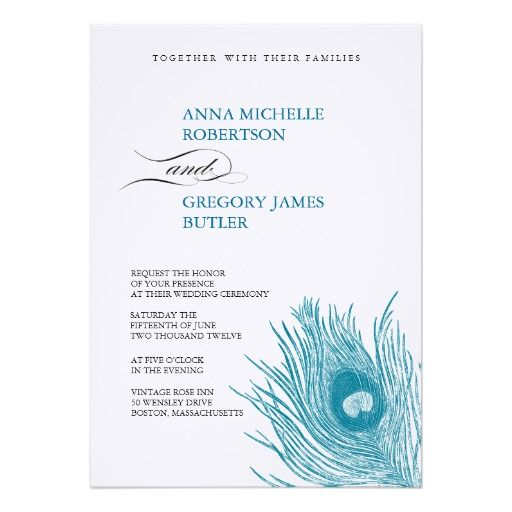 Modern Blue Peacock Feather Wedding Invitation   Created By ONimages