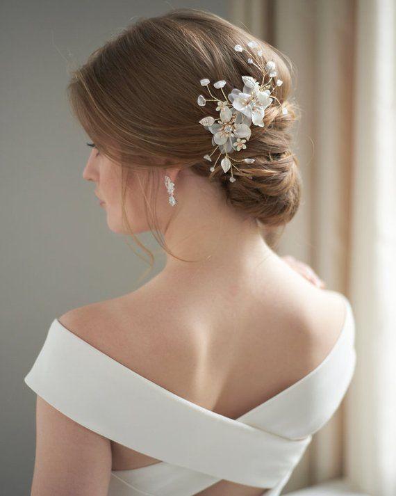 Gold Wedding Hair Clip Floral Bridal Hair Clip Rhinestone Etsy Bridal Hair Clip Wedding Hair Inspiration Wedding Hair Pieces