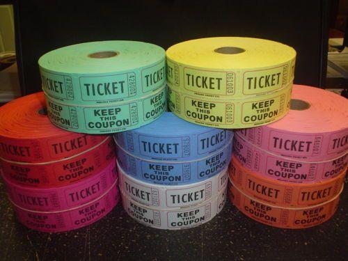 Roll of 1000 50//50 Double Stub Raffle Tickets Split the Pot 8 Colors Fun Fair