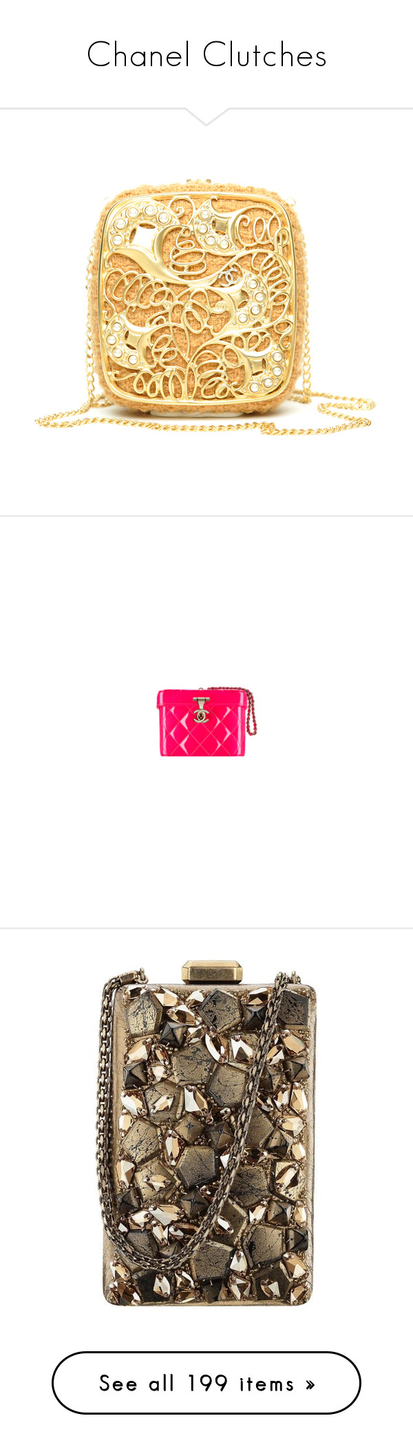 """""""Chanel Clutches"""" by sakuragirl ❤ liked on Polyvore featuring bags, chanel, beauty products, beauty accessories, bags & cases, makeup purse, dop kit, travel kit, toiletry bag and travel toiletry case"""