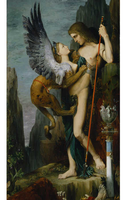 Oedipus and the Sphinx, Gustave Moreau (French), 1864, oil on canvas, 206.4 x 104.8 cm, Metropolitan Museum of Art
