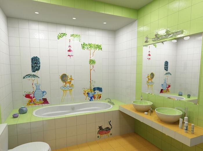 23 unique and colorful kids bathroom ideas furniture and for Cool bathroom ideas for girls