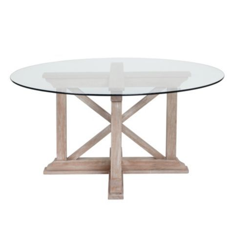 Rencourt Round Dining Table White Wash W Glass Top From