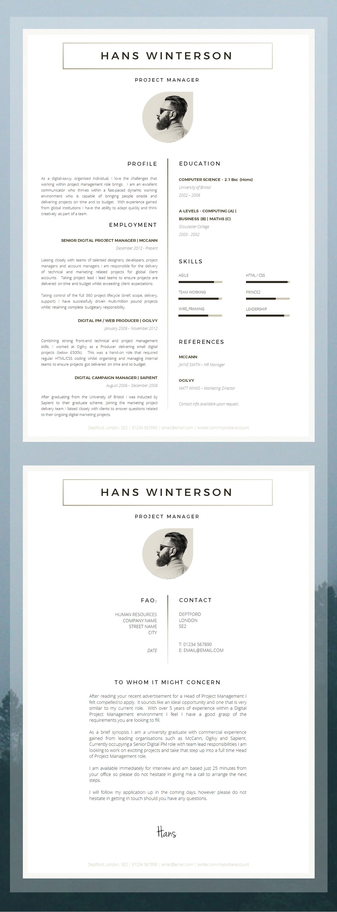 CV Template | Résumé Template for Word + Cover Letter + Advice | 1 ...