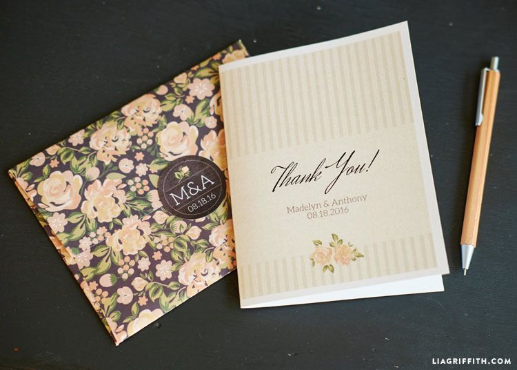 Print our vintage wedding thank you cards with a natural white seersucker stripe pattern and blush pink watercolor roses to send out after your big day!