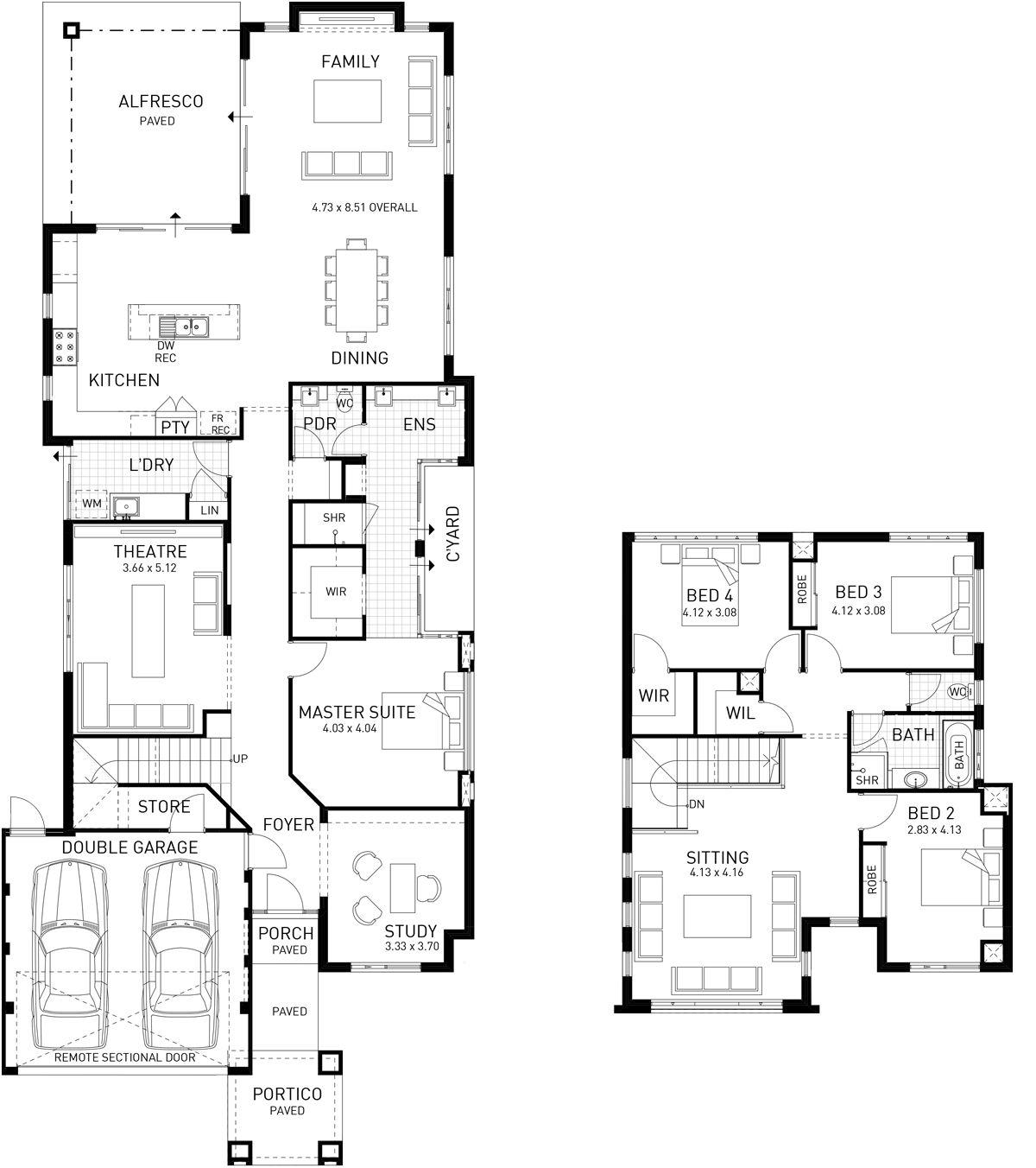 City View Double Storey Floor Plan Wa House Floor Plans Floor Plans Mountain House Plans