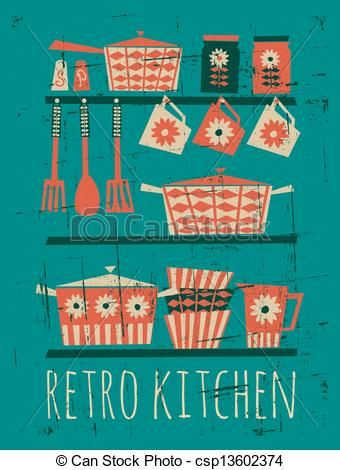Poster With Kitchen Items In Retro Style Stock Vector
