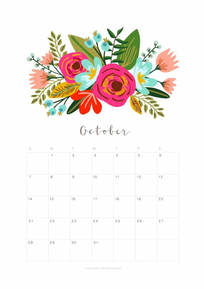 Printable October 2018 Calendar Monthly Planner Floral Design