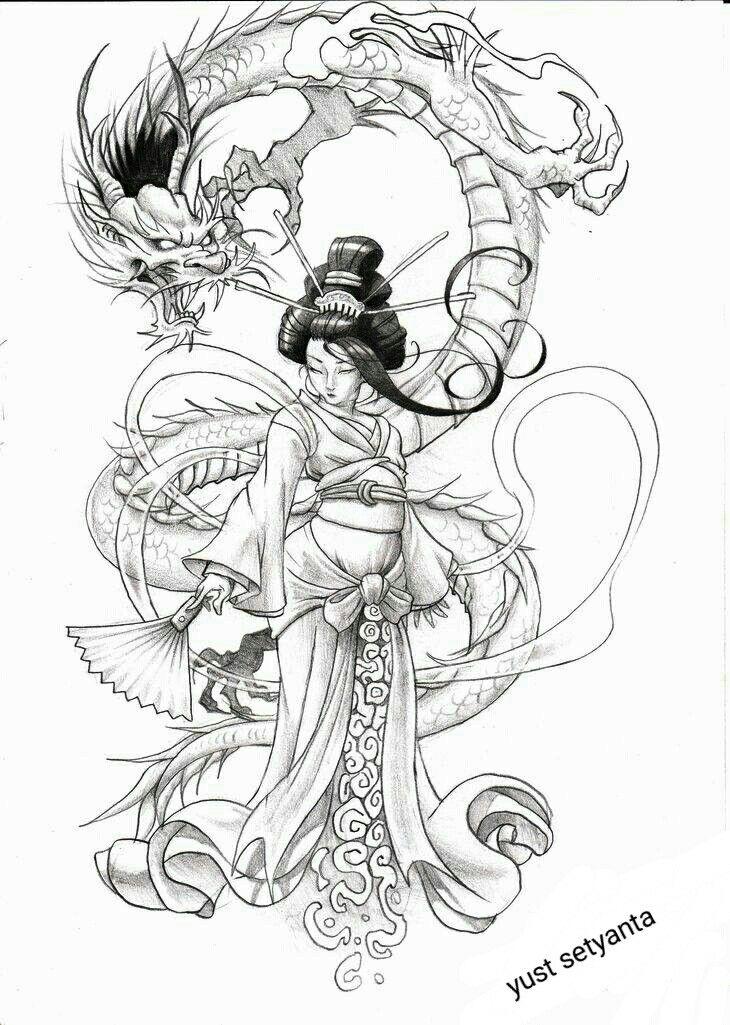 Image du tableau tatouage japonais de LULU   Tatouage geisha, Coloriage manga, Tatouage japonais ...