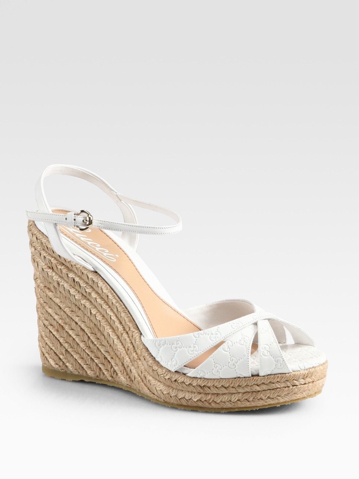 6ba874a4537e6a Gucci Penelope Gg Leather Espadrille Wedges in White