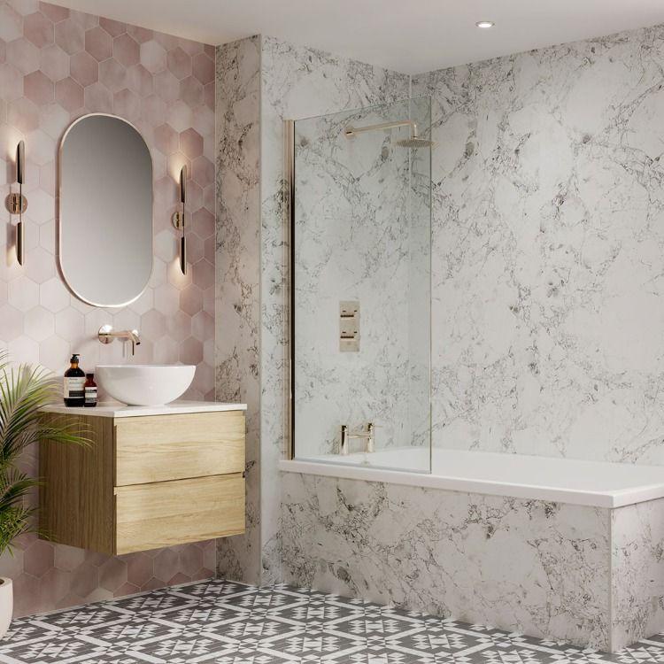Pink Blush Bathroom Ideas in 2020 | Bathroom feature wall ...