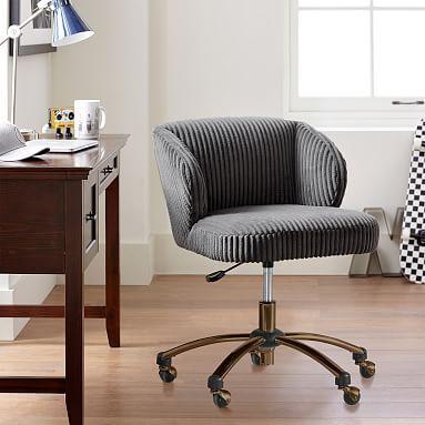 Charcoal Chamois Wingback Desk Chair
