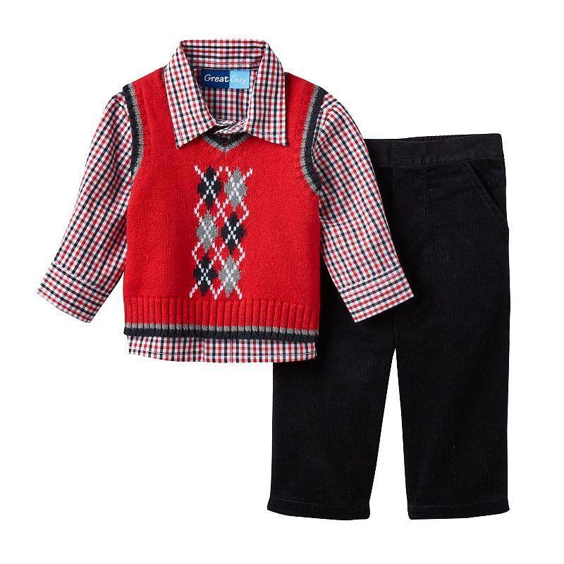Baby Boy Great Guy Argyle Sweater Vest, Plaid Shirt & Corduroy ...