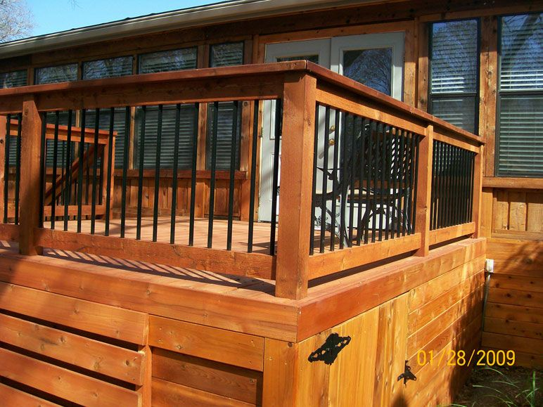 Wood And Iron Railing Decks Remodeling Mgt deck
