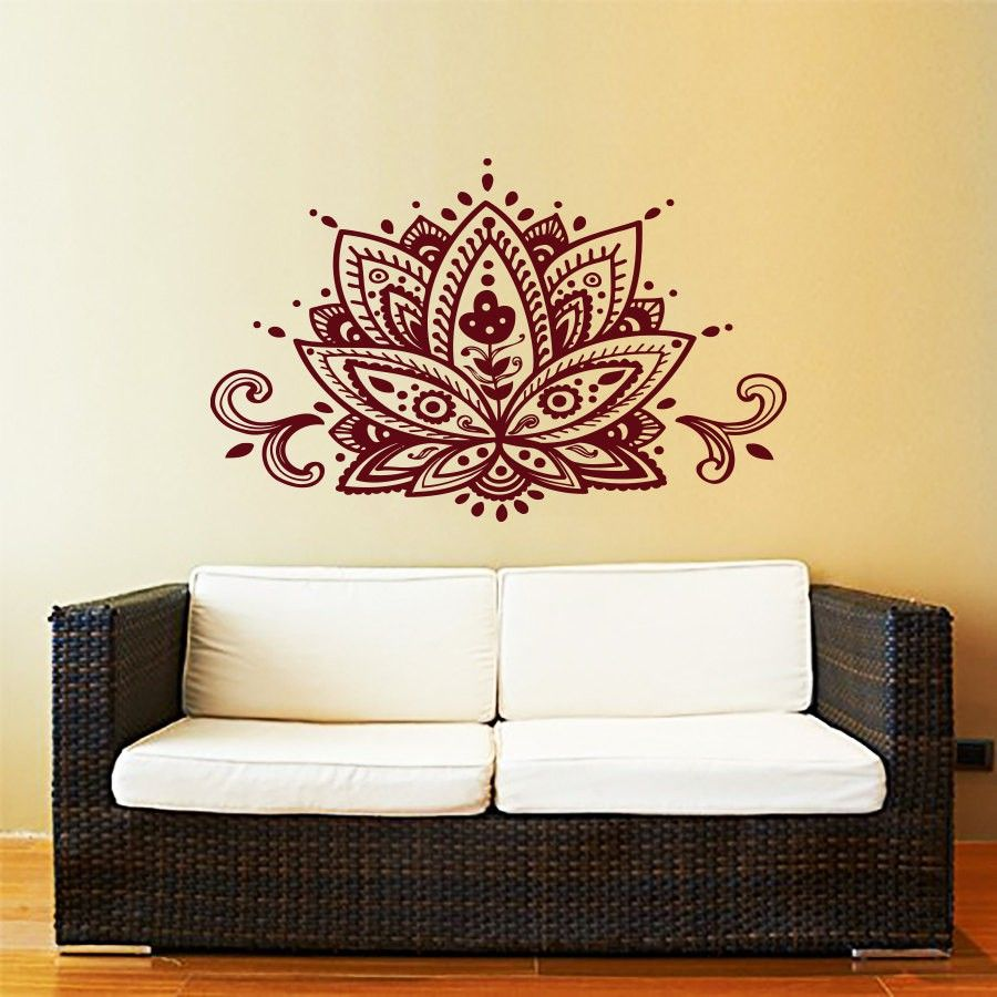 Lotus Flower Wall Decal Yoga Studio Vinyl Sticker Decals Mandala Ornament Moroccan Pattern Namaste Home Decor