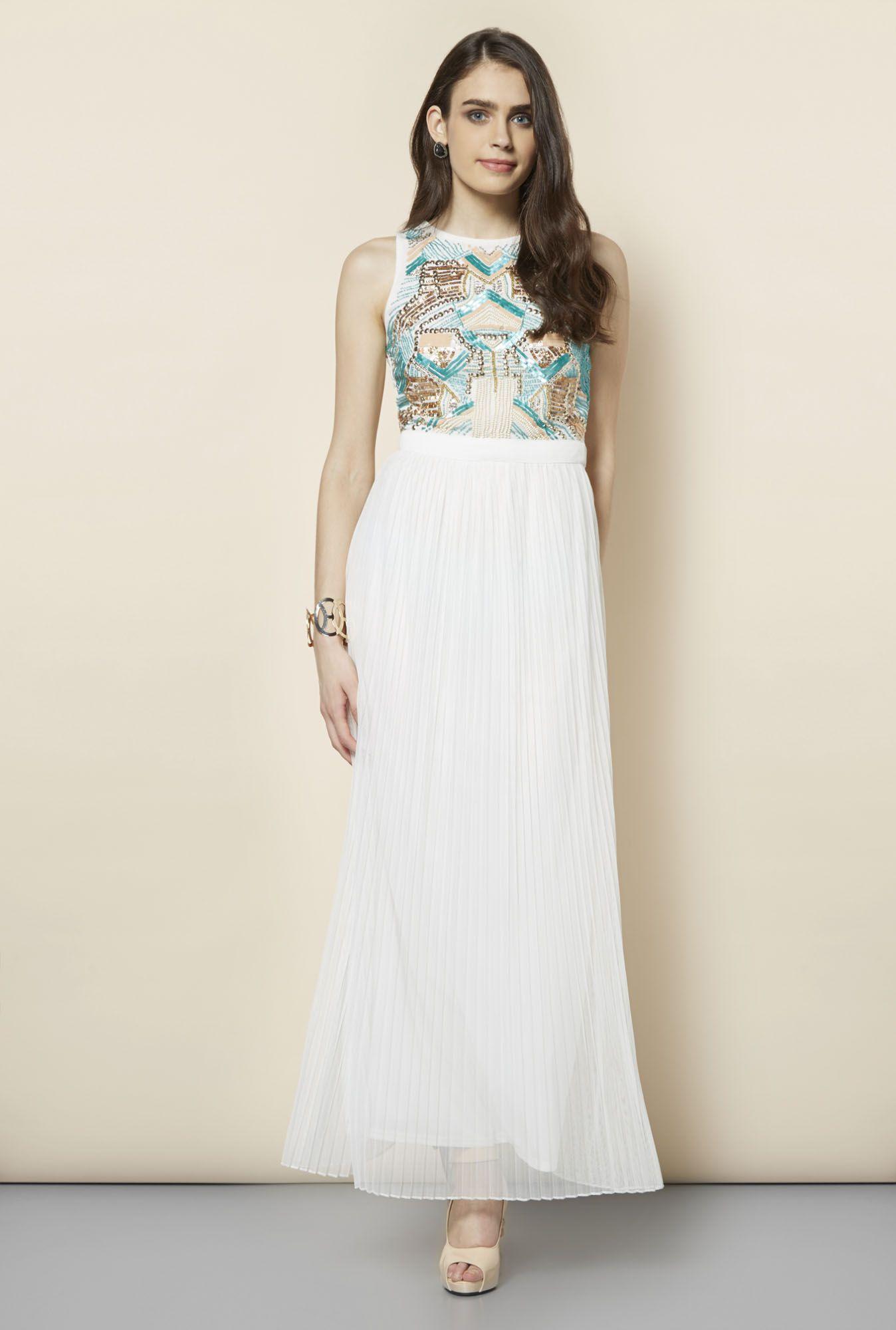 821ba1082d3 FG-4 White Embellished Maxi Dress. FG-4 White Embellished Maxi Dress  Western Dresses For Women