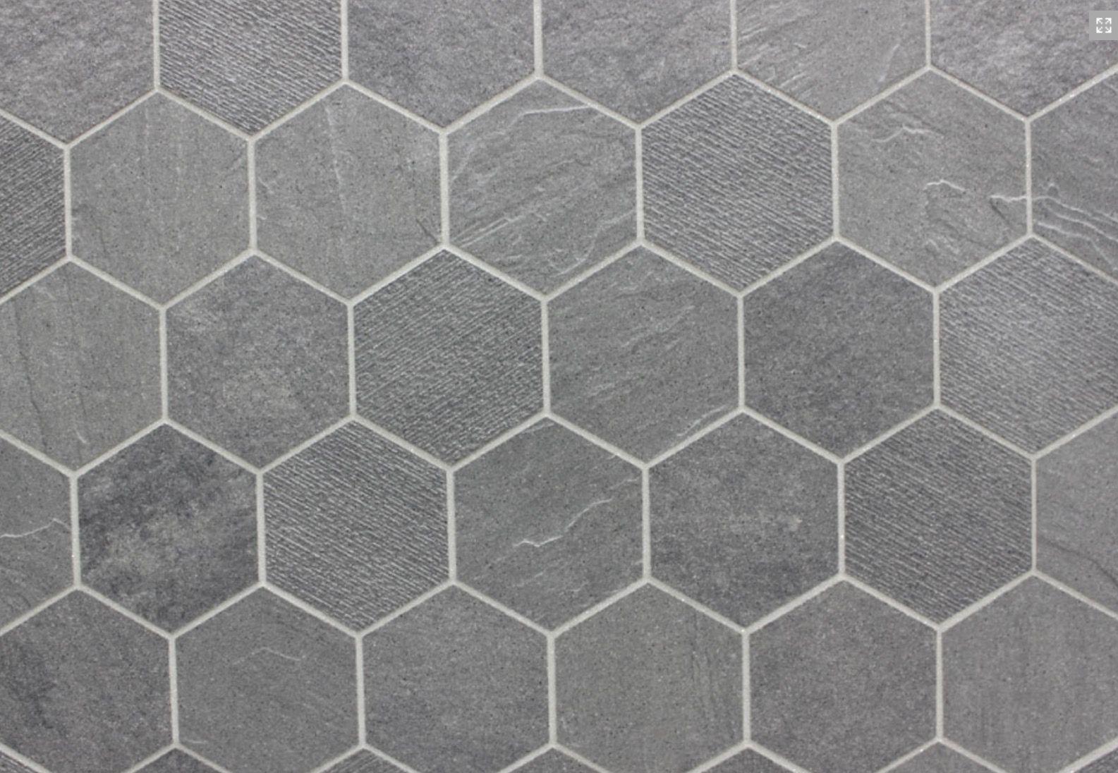 porcelain hexagon tile in steel grey