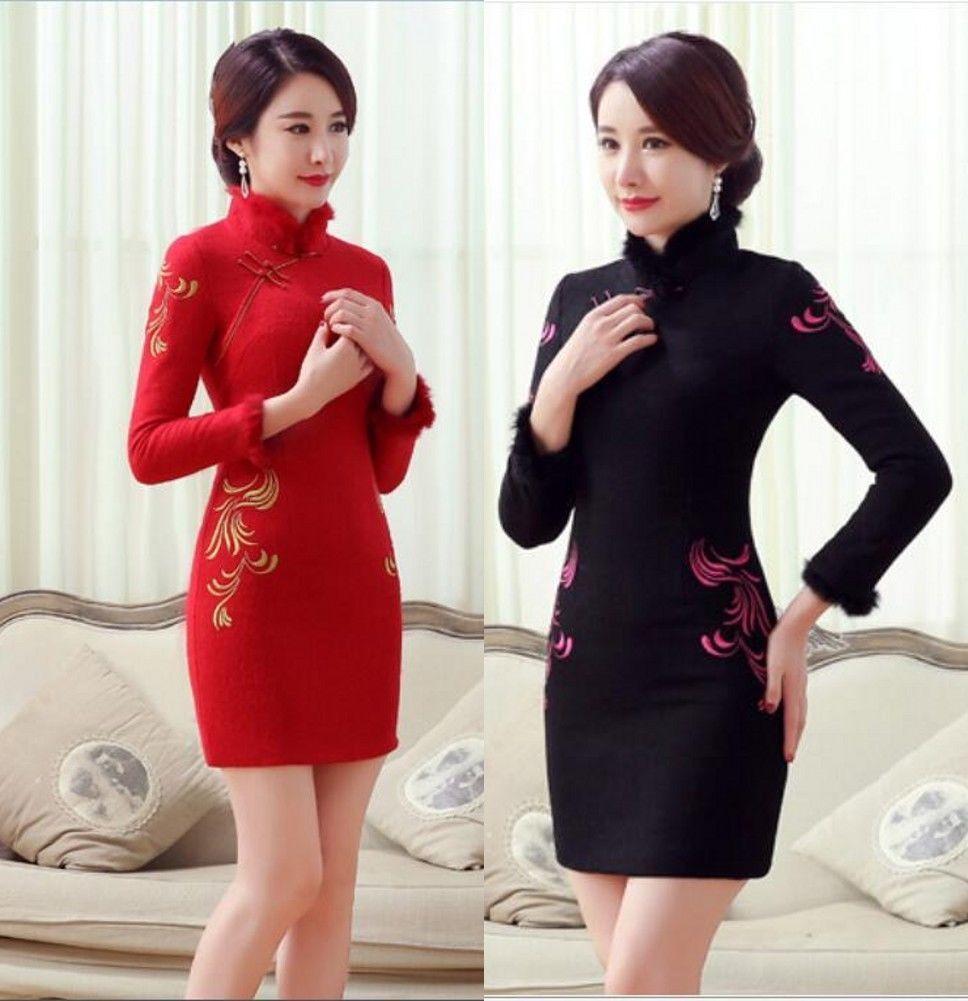 Black red chinese womenus winter woolen mini dress cheongsam sz