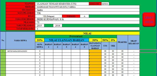Aplikasi Perhitungan Nilai UTS UAS dan UKK Microsoft Excel