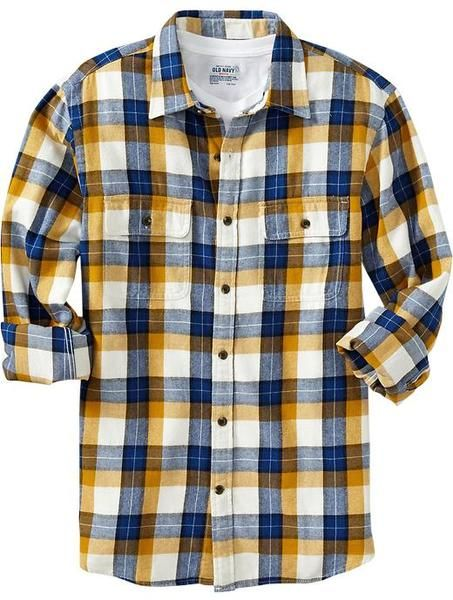 Old Navy Patterned Flannel Shirt in Yellow for Men (blue/yellow ...