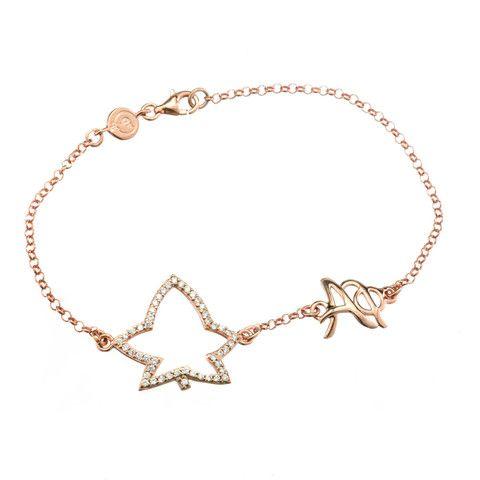 Alpha Phi Sterling Silver Rose Gold Vermeil Bracelet