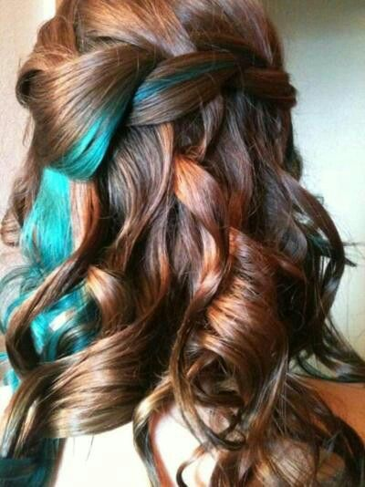 Red Brown Hair With Blue Streaks Hair Streaks Hair Color