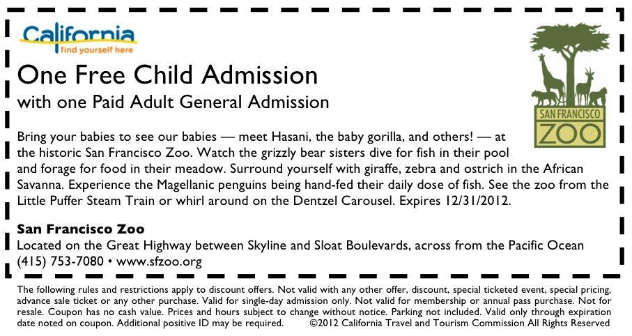 Sf Zoo Coupon San Francisco Zoo Zoo Coupons Zoo