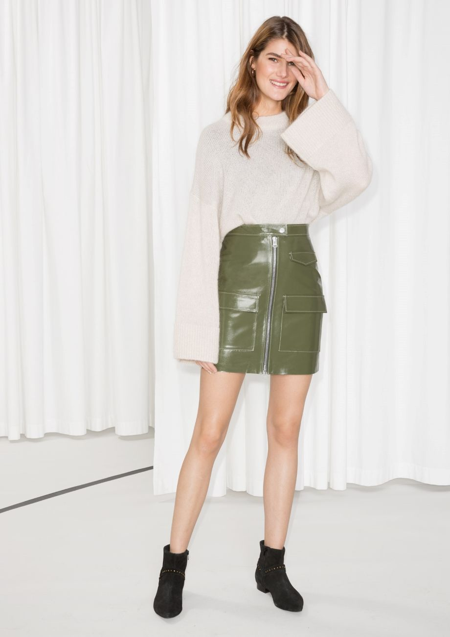 511f539295ad Other Stories image 1 of Utilitarian Patent Leather Skirt in Khaki Green