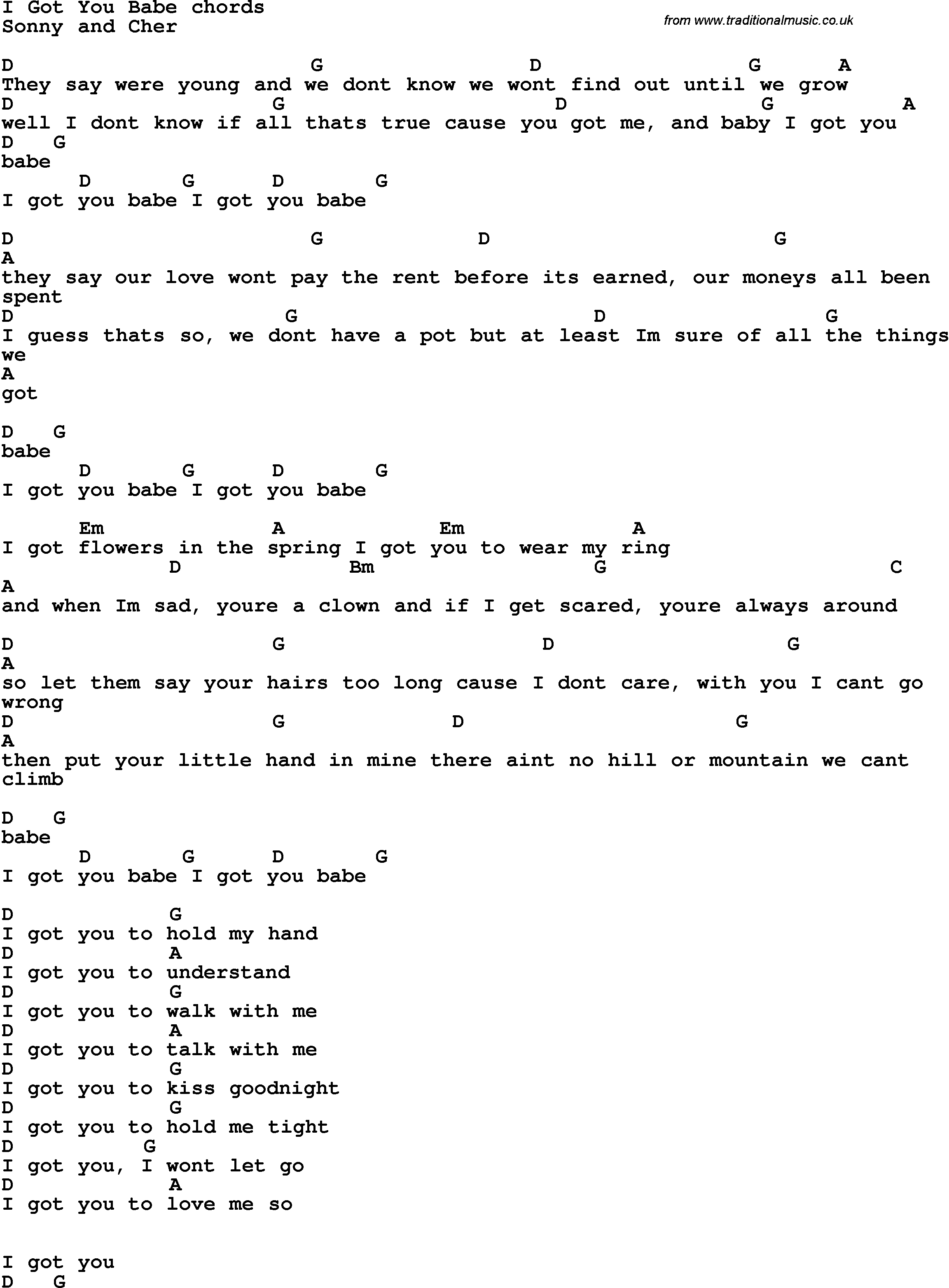 Song Lyrics With Guitar Chords For I Got You Babe Guitarchords