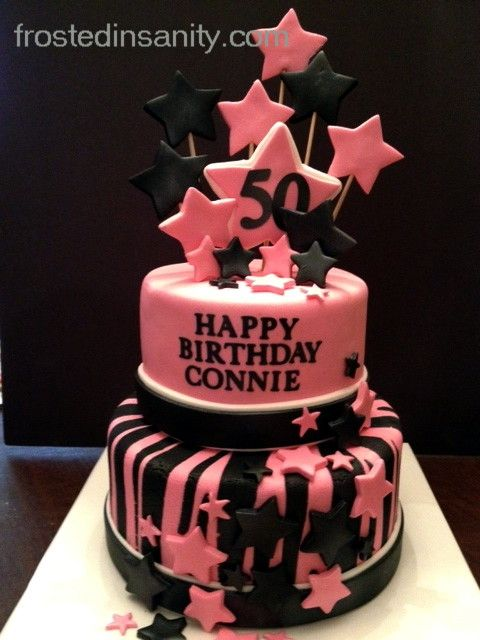 Pink And Black 50th Birthday Cake Cakes By Frosted