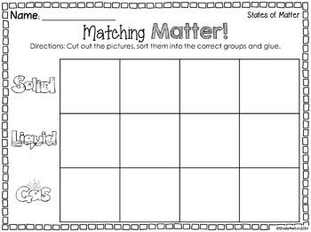 states of matter freebie sorting states of matter science and