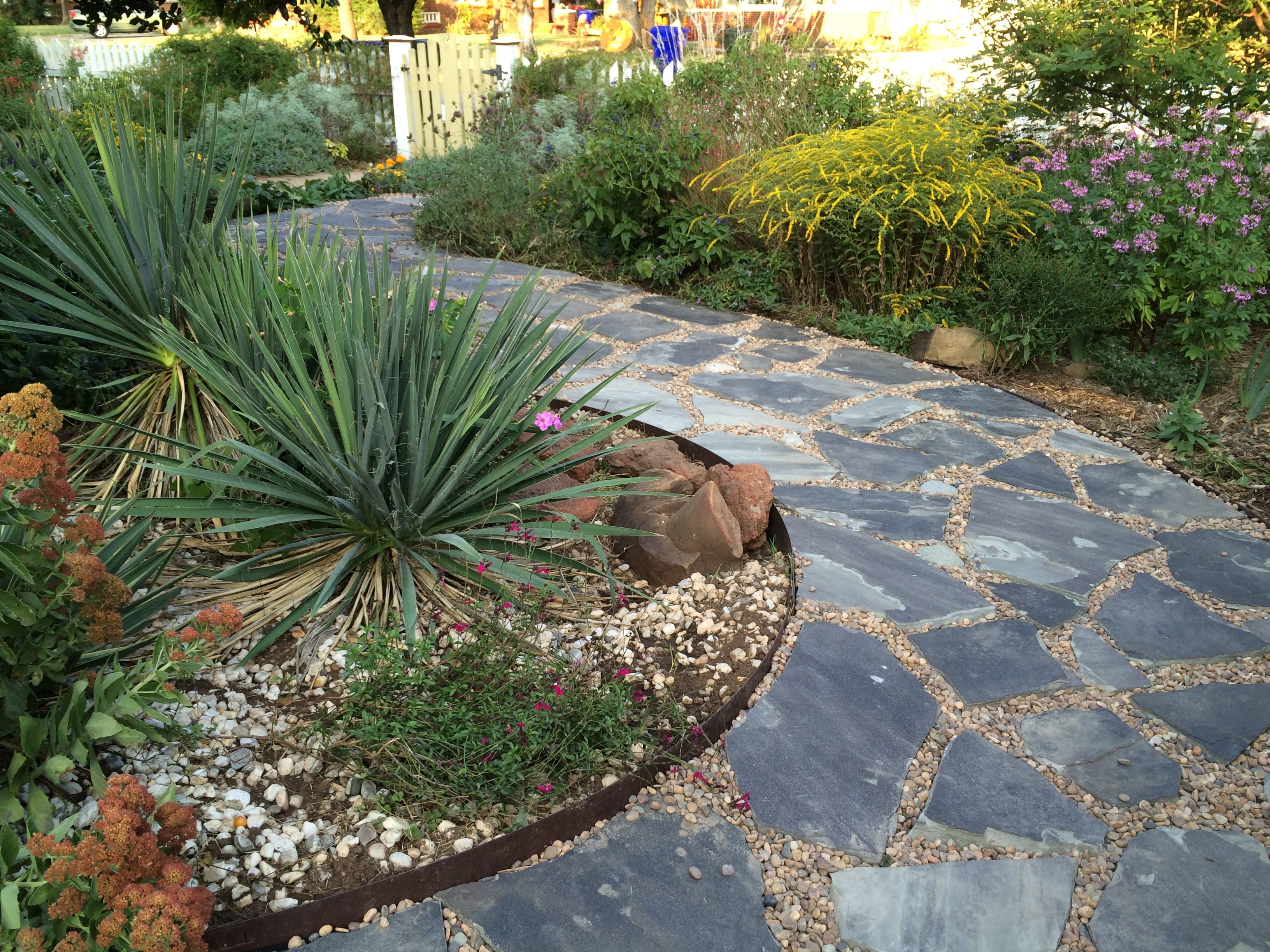 Front Yard Path, Using Blue Stigler Flagstone And River Rock
