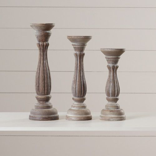 Farmhouse Decor - Farmhouse Style Candlesticks - Found it at Wayfair - 3 Piece Wood Candlestick Set (affiliate)