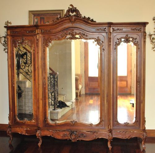 French Armoire Wardrobe A Magnificent Example Of Luis XV Rococo Carved 3  Doors | EBay