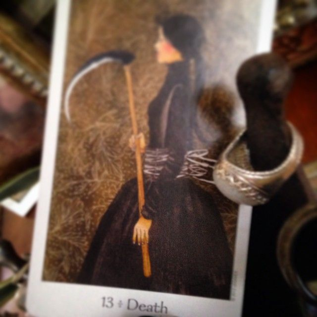 #PadmesDailyTarot—Death 12/16/14. Some dramas have come full circle. Lots of letting go of past ties, moving forward away from old patterns that no longer serve you, & releasing people who still hold those negative patterns you grew out of. It is a rebirth of sorts. The New Year is bringing a ton of that, so stay aware of your Truth Self & step into your new world gracefully. Realization comes through as wisdom when you see you've transcended your past experiences. #tarot <3 www.padmes.com