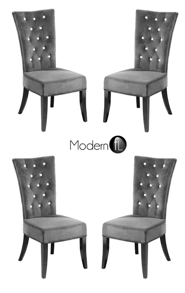 New 4x Grey Velvet Dining Chair With Diamante Detail Diamante
