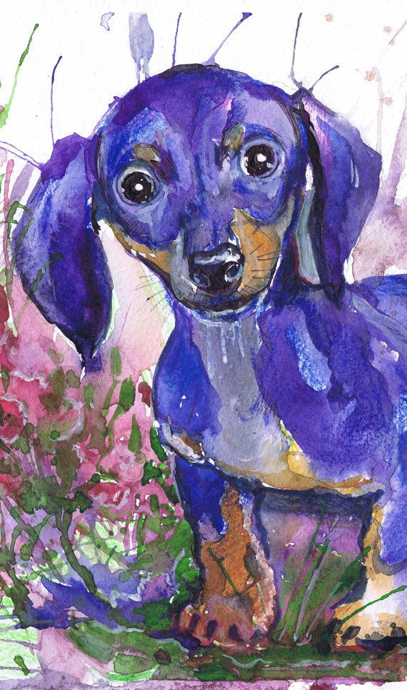 Dog Art Print Dachshund Wall Art Dog Watercolor Painting Purple